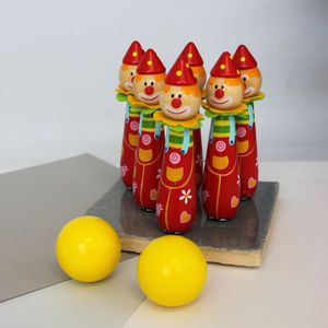 Handpainted Wooden Clown Skittles - handmade toys and games