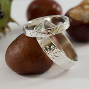 Horse Chestnut Wedding Bands In Eco Silver