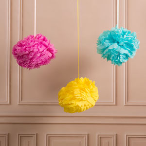Pack Of Three Unicorn Paper Pom Poms - decorative accessories