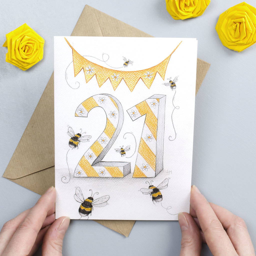 Happy 21st Birthday Greeting Card Bumble Bees