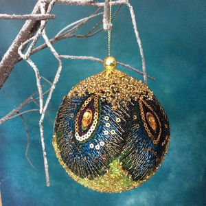 Beaded Peacock Bauble