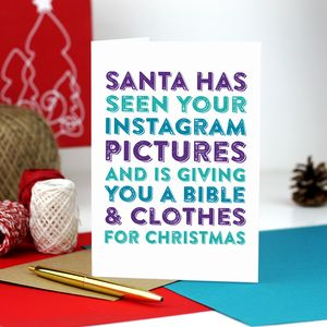 Santa Has Seen Your Instagram Photos Christmas Card