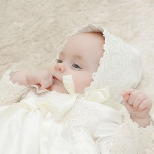 Christening Bonnet With Lace Trim