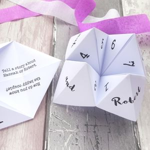 Personalised Wedding Ice Breaker Fortune Tellers - table decorations