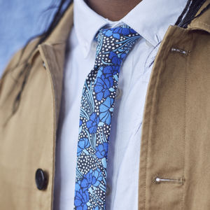 Mens Blue Floral Skinny Tie - new in fashion