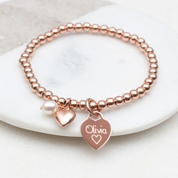 Personalised 18ct Rose Gold Charm Ball Bracelet