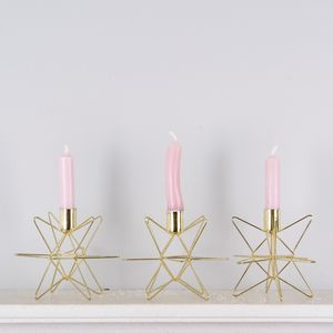 Set Of Three Gold Star Candle Holders - table decorations