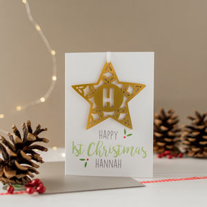 Personalised Baby's First Christmas Card And Bauble