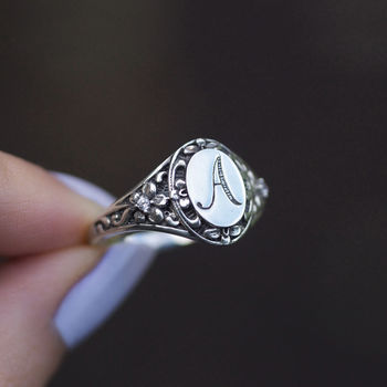Ornate Sterling Silver Initial Ring