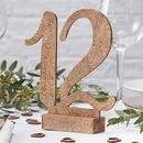 Rose Gold Glitter Wooden Table Numbers One 12