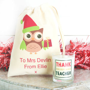 Personalised Teacher Christmas Gift Bag And Candle - tree decorations