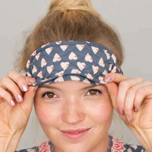 Ladies Eye Mask In Solero Heart Print - eye masks & neck pillows