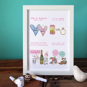Personalised Engagement Story Print - wedding, engagement & anniversary cards