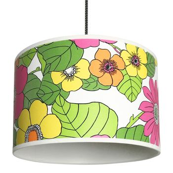 Flower Power Vintage Inspired Wallpaper Lampshades