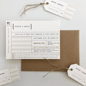 Just The Ticket Wedding Invitation