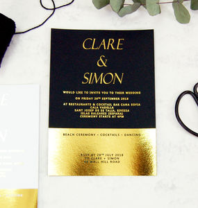 Black And Gold Foil Block Wedding Invitation