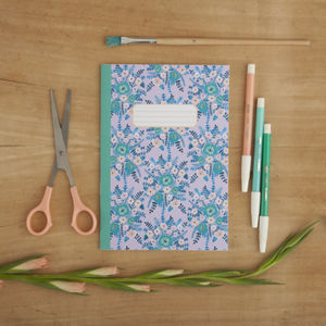 Lilac Floral Pattern Illustrated A5 Notebook