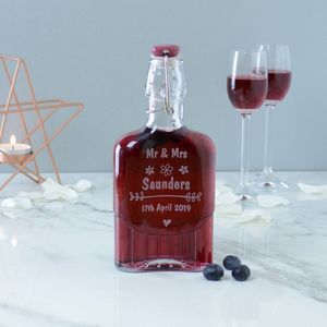 Personalised Engraved Wedding Sloe Gin Bottle