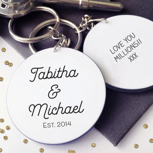 Personalised Couple Name Valentine Message Keyring