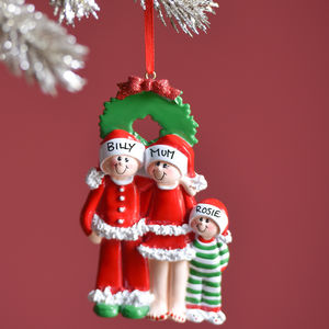 Personalised Pyjama Family Of Three Hanging Decoration