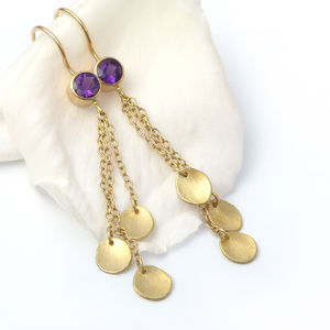 Amethyst Earrings With 18ct Gold Petals