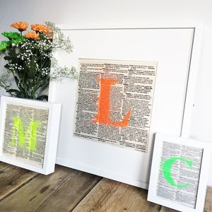Personalised Initial Neon Typography Print