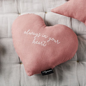 'Always In Your Heart' Linen Cushion