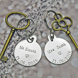 Mr And Mrs Personalised Keyring Set - personalised wedding gifts