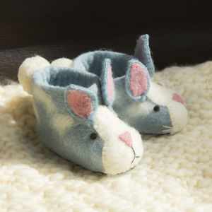 Rory Rabbit Children's Felt Slippers