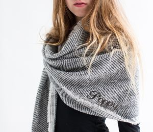 Personalised Grey Herringbone Scarf