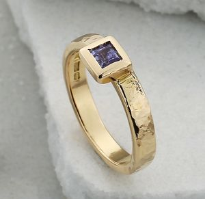 18ct Gold And Iolite Stacking Unity Ring