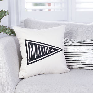 Personalised Pennant Flag Name Cushion - winter sale