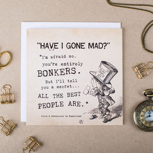 Alice In Wonderland 'Bonkers' Card - blank cards
