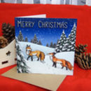 Winter Foxes Illustration Christmas Card