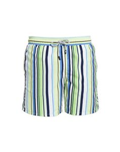 Boy's Blue And Green Striped Swimming Trunks