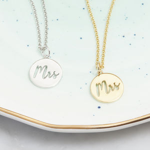 'Mrs' Cut Out Necklace In Silver, Gold Or Rose - black friday sale