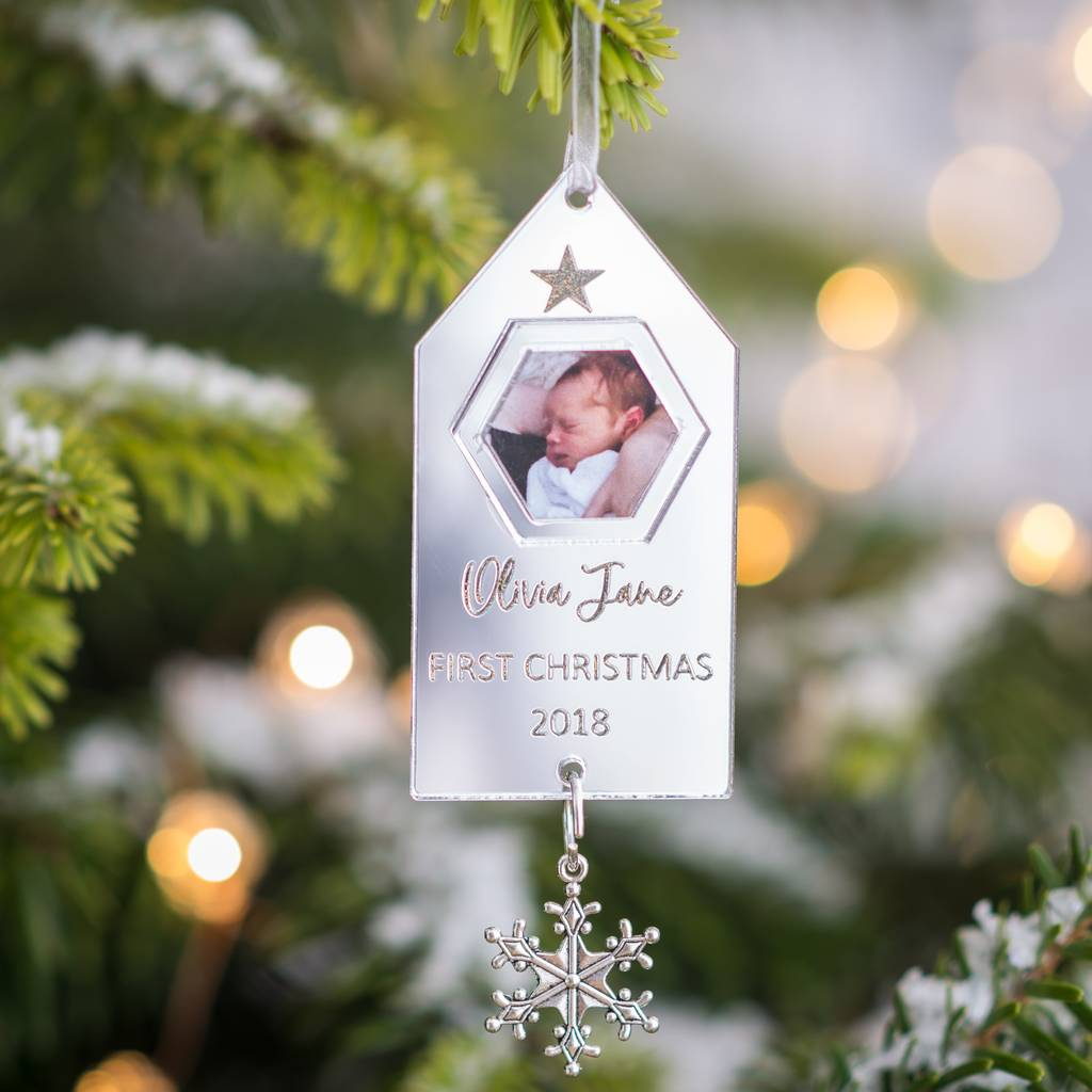 Silver Personalised Baby S First Christmas Decoration By