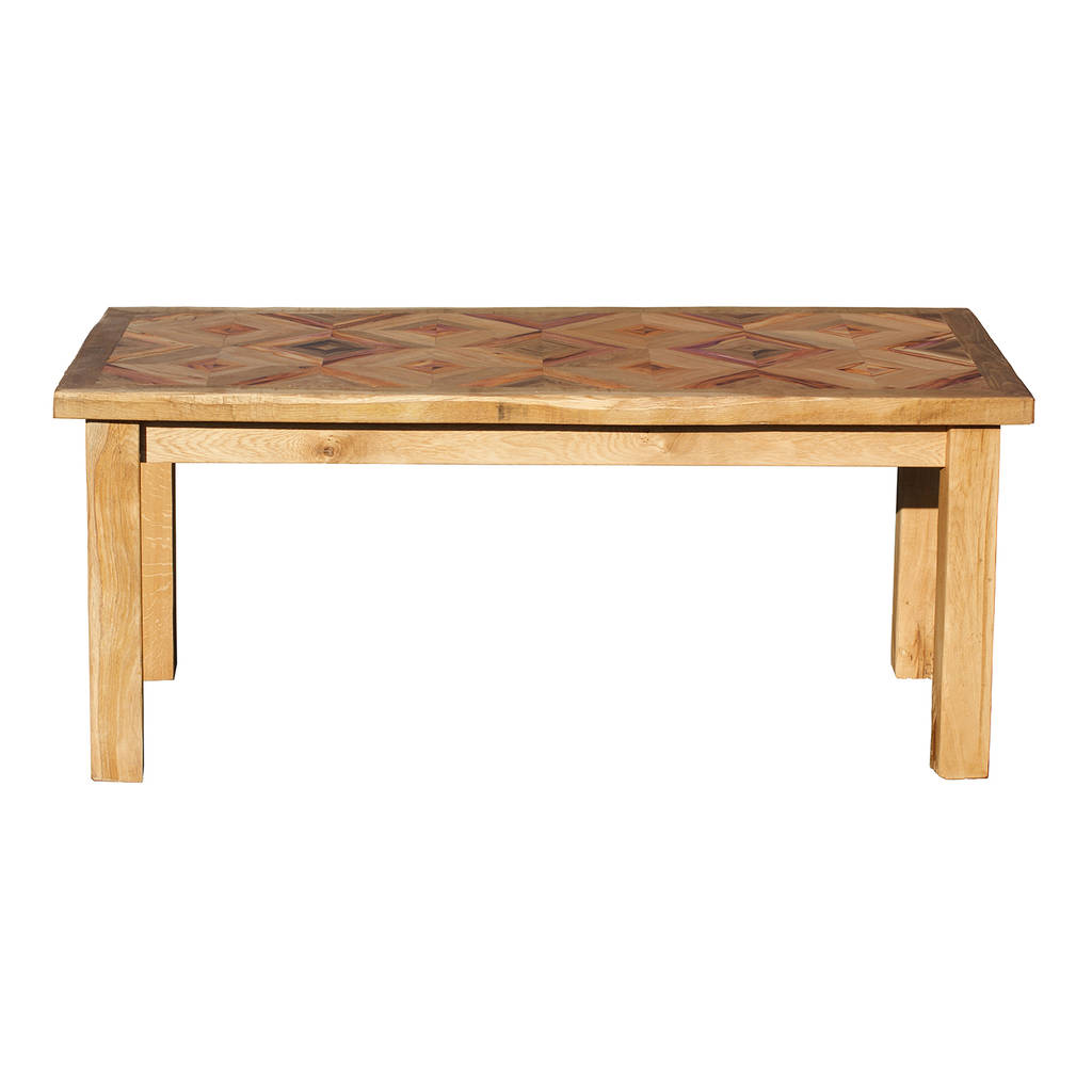 British made reclaimed oak and yew wood dining table