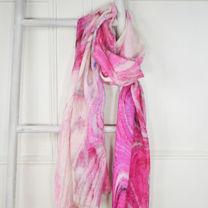 Bologna Marble Print Wool Silk Scarf - scarves