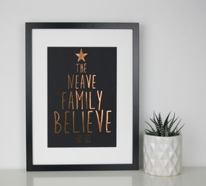 Personalised Family Christmas Believe Foil Print - festive wall art