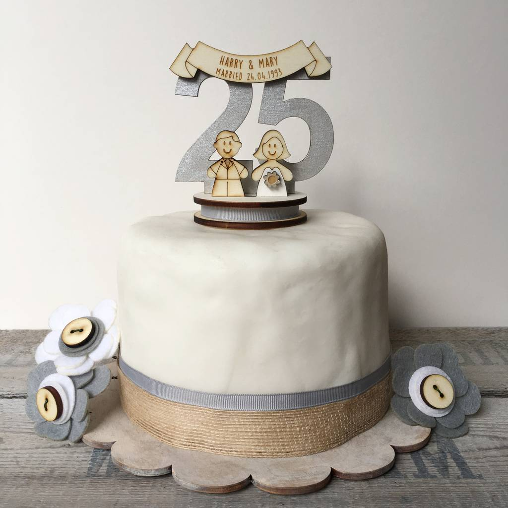 Personalised 25th Wedding Anniversary Cake Topper By Just ...