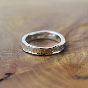 Textured 4mm Wide Silver Storybook Ring