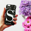 Black Marble Alphabet Phone Case