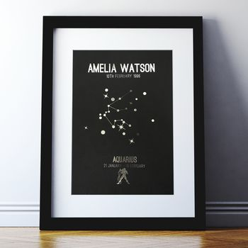 Metallic Personalised Horoscope And Star Sign Print