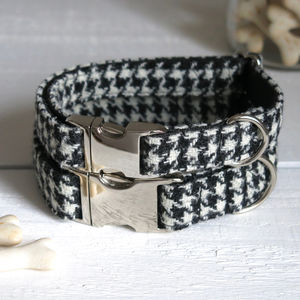 Houndtooth Harris Tweed Dog Collar - gifts for pets