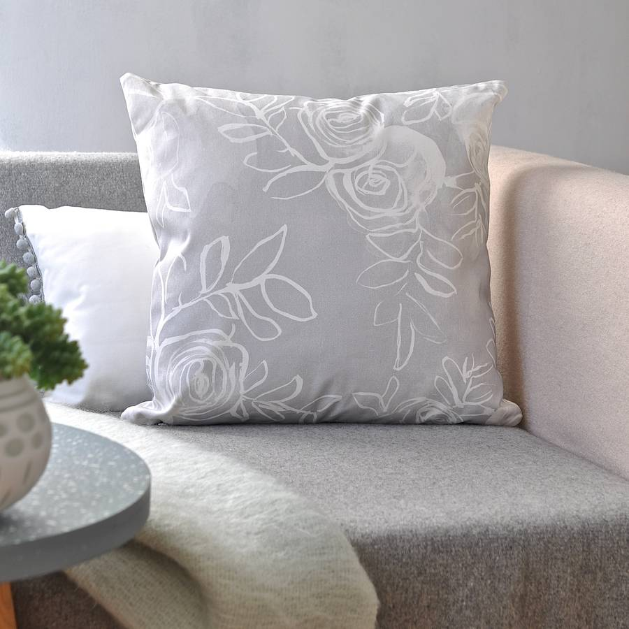 Grey Watercolour Rose Cushion