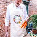 Personalised Vegetable Wreath Garden Cotton Apron