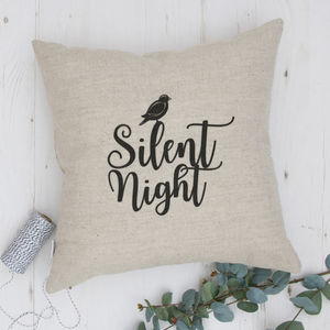 Christmas Cushion With Embroidered Silent Night - embroidered cushions