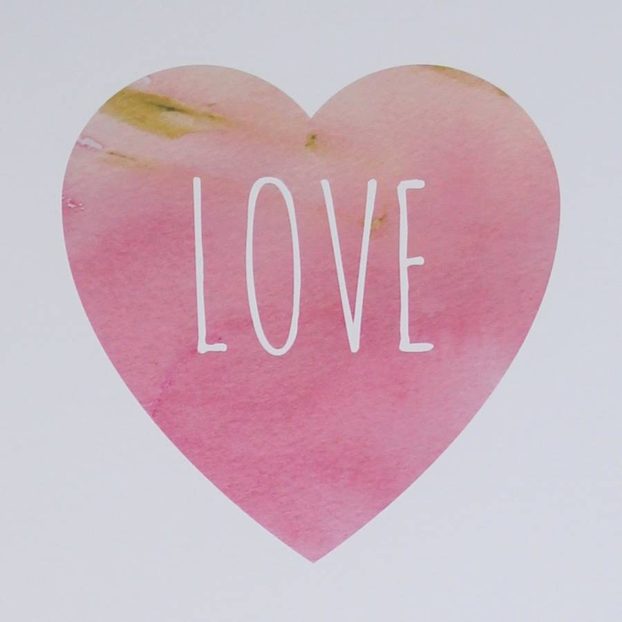 love heart watercolour art print