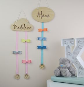 Personalised Cloud Hair Bow Hanger Wood - hooks, pegs & clips